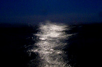 See the light: Moonlight on Water II. Rough Passage on a Circumnavigation of West Pier, Brighton, at Night